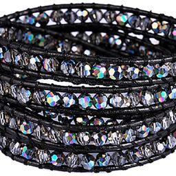 New! Crystal Wrap Bracelets for Women Girls Genuine Leather Adjustable Rhinestone Best Friend Cuf...   Amazon (US)