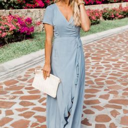 A Magnificent Night Light Blue Maxi Dress | The Pink Lily Boutique