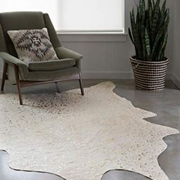 """Loloi II Bryce Collection Faux Cowhide Area Rug, 5' x 6'6"""", Ivory/Champagne   Amazon (US)"""