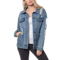 KOGMO Womens Distressed Boyfriend Denim Jacket Loose Fit with Inner Pockets | Walmart (US)