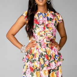 Astrid Ruffle Front Mini Dress - Monet   BuddyLove