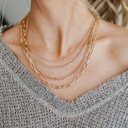 Reign Gold Layered Chain Necklace | Dress Up