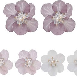 Cute Acrylic Resin Petals White Beads Flower Stud Earrings Floral Statement Women Girls Gifts | Amazon (US)