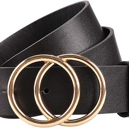 Ifendei Women's Leather Belt with Gold Double O-Ring Buckle for Jeans | Amazon (US)