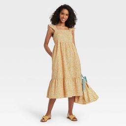 Women's Floral Print Ruffle Sleeveless Dress - Universal Thread™ Yellow   Target