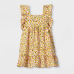 Toddler Girls' Floral Ruffle Sleeve Dress - Cat & Jack™ Yellow   Target