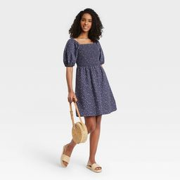 Women's Floral Print Puff Elbow Sleeve Smocked Dress - Universal Thread™ Navy   Target
