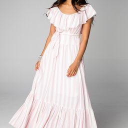 Heather Ruffled Bust Maxi Dress - Pink Stripe   BuddyLove