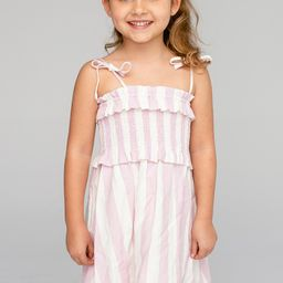 Vivienne Girl's Mini Dress - Pink Stripe   BuddyLove
