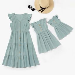 PatPat Mommy and Me 100% Cotton Solid Ruffle Matching Dresses   Walmart (US)
