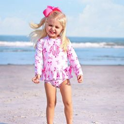 Pink Bow Print Long Sleeve One Piece Rash Guard | Smocked Auctions