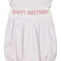 Pink Dot Pique Smocked Happy Birthday Bubble | Cecil and Lou