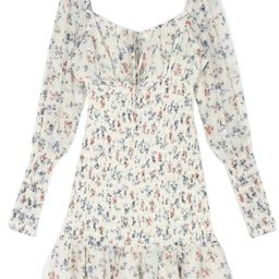 'Antonia' Floral Printed Ruched Long Sleeves Mini Dress   Goodnight Macaroon