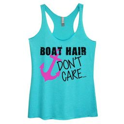 """Womens Tri-blend Boating Lake Tank Top """"Boat Hair Don't Care"""" Funny Threadz? Large, Blue 
