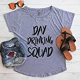 Day Drinking Squad Flowy Tee - Day Drinking Outfit - Lake Shirt - Summer Shirt - Off The Shoulder Sh | Amazon (US)