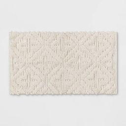 Textured Diamond Shag Bath Rug Cream - Opalhouse™ | Target