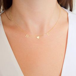 14k solid gold initial necklace , Name Necklace , Personalized Jewelry, Personalized Necklace , M...   Etsy (US)