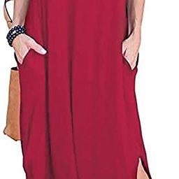 HUSKARY Women's Summer Maxi Dress Casual Loose Pockets Long Dress Short Sleeve Split   Amazon (US)