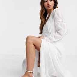 ASOS DESIGN lace insert wrap maxi dress in white   ASOS (Global)