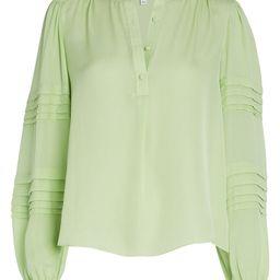 INTERMIX Clarissa Silk Blouse, Green-Lt XL | INTERMIX