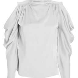 INTERMIX Krysta Cold-Shoulder Silk Blouse, Silver 14 | INTERMIX