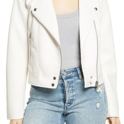 Good Vibes Faux Leather Moto Jacket   Nordstrom