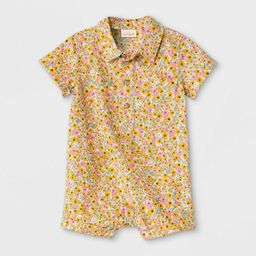 Baby Boys' Floral Woven Romper - Cat & Jack™ Yellow   Target