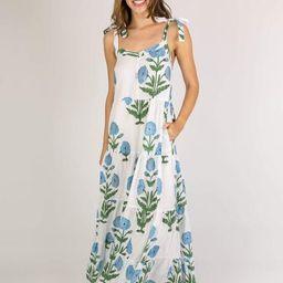 PRE-ORDER The Westport Maxi Dress | Large Blue Flowers | Beau & Ro