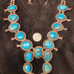 Sold to NB - do not buy - on layaway - Extremely old Primitive style Turquoise Sterling Silver sq...   Etsy (US)