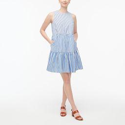 Sleeveless tiered mini dress in cotton poplin | J.Crew Factory