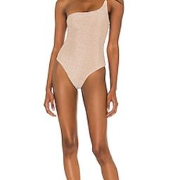 Nookie One Shoulder One Piece in Nude Lurex from Revolve.com   Revolve Clothing (Global)