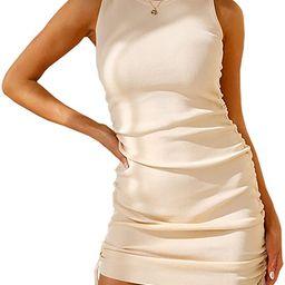 BTFBM Women Sleeveless Bodycon Ruched Short Dress Side Drawstring Solid Crew Neck Casual Summer T... | Amazon (US)