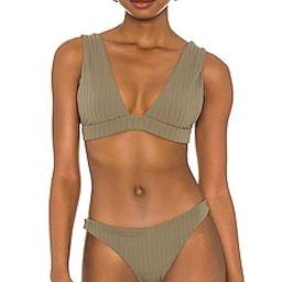 MIKOH Pila Bikini Top in Ribbed Khaki from Revolve.com | Revolve Clothing (Global)