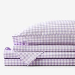 Company Kids Gingham 4-Piece Lilac Plaid 200-Thread Count Organic Cotton Percale Full Sheet Set | The Home Depot