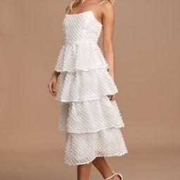 Flirting with You White Tiered Pom Pom Midi Dress | Lulus (US)