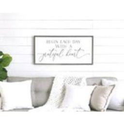 farmhouse wall decor  Begin each day with a grateful heart sign  family room sign  home decor  farmhouse sign   Etsy (US)