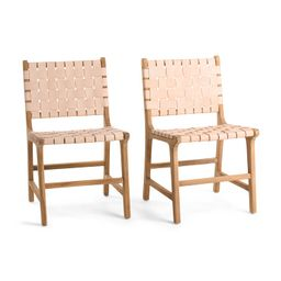 Set Of 2 Woven Leather Dining Chairs | TJ Maxx