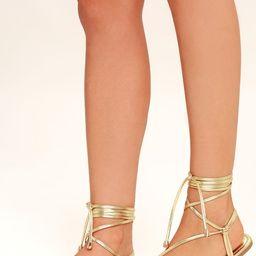 Micah Light Gold Lace-Up Flat Sandals | Lulus (US)