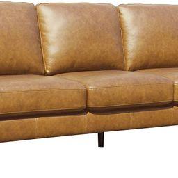 "Amazon Brand – Rivet Revolve Modern Leather Sofa Couch, 80""W, Caramel | Amazon (US)"