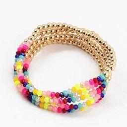 Blue Sky Neon Rainbow/Gold Bead Bracelet Set | Social Threads