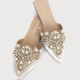 Flora Ivory Satin Pearl Embroidered Pointed-Toe Flats | Lulus (US)