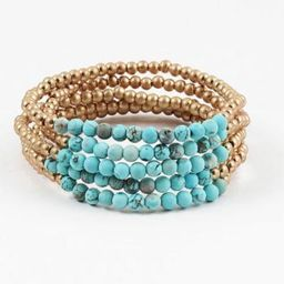 Blue Sky Turq/Gold Bead Bracelet Set | Social Threads
