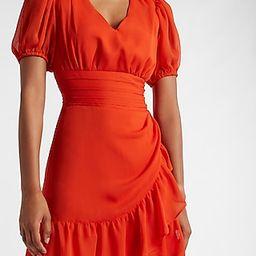 Ruffle Wrap Puff Sleeve Dress   Express