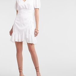 Clip Dot Ruffle Wrap Puff Sleeve Dress   Express