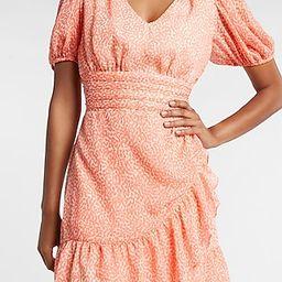 Printed Ruffle Wrap Puff Sleeve Dress   Express