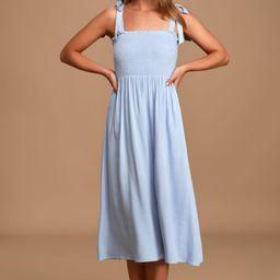 Looking Up Light Blue Smocked Tie-Strap Midi Dress   Lulus (US)