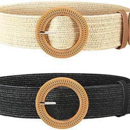2 Pieces Women Straw Woven Elastic Stretch Waist Belt Skinny Dress Braided Waist Belt with Wooden... | Amazon (US)