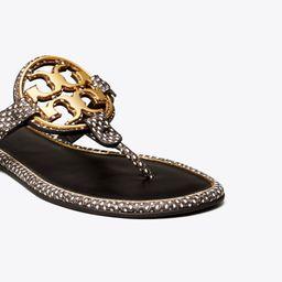 Miller Metal-Logo Sandal, Embossed Leather   Tory Burch (US)