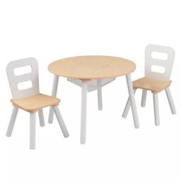 Round Table and 2 Chair Set White/Natural - KidKraft | Target