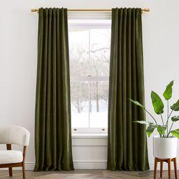 Worn Velvet Curtain - Tarragon   West Elm (US)